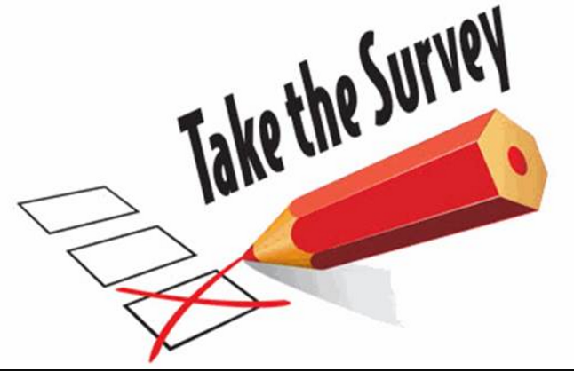 take the survey words with pencil and checkbox